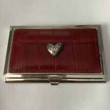Ladies Brighton Card Case, Silvertone W/burgundy Leather  VGUCsb