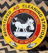 1958 VINTAGE PORCELAIN SPARK PLUG CLEANING STATION GAS AND OIL SIGN