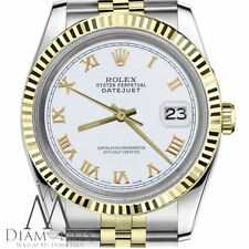 White Roman Numeral Woman's Rolex 31mm Datejust 18K & SS 2Tone Jubilee Watch