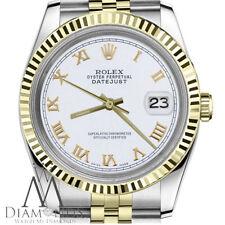 White Roman Numeral Women's Rolex 31mm Datejust 18K & SS 2 Tone Jubilee Watch