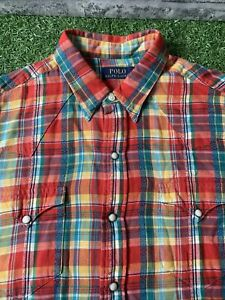 Polo Ralph Lauren Pearl Snap Plaid Western Button Up Shirt Large