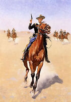 Oil painting Frederic Remington - the trooper strong horseman in landscape 36""