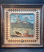 Navajo Handmade Herman Tyler Navajo Sand Art North Mountain Framed