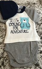 NWT BABY BOY GERBER ONESIE AND HAT SET  SIZE 0-3 MONTHS