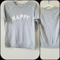 "NEW GRAYSON THREADS Short Sleeve "" HAPPY"" Sweatshirt Size LARGE *Super Soft*NWT*"