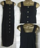 NEW Next Ladies Linen Blend Midi Dress Square Neck Summer Holiday Black 6-26