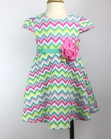 SWEET HEART ROSE Girls Pink Mint White Easter Spring Chevron Party Dress 2T