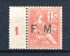 "FRANCE TIMBRE FRANCHISE MILITAIRE N° 1 "" MOUCHON 15c ORANGE "" NEUF xx TTB T189"