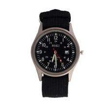 SOKI Quartz Army Sport Men's Wrist Watch Dial Calendar Watches Alloy Black U1W8