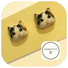 Dave the cat Earring studs Handmade  🐈cat face crazy cat lady💖 free postage 💖