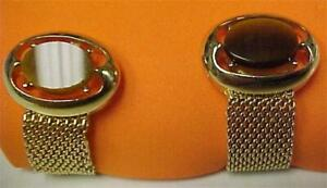 Cuff Links-Vintage-Wrap Around in Gold Tone with Tiger Eye Stone #14397C