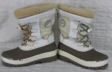 UGG White Snow Boots Winter Woman Sz 4 Elastic Lace Up Slip on Waterproof
