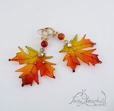 Autumn Leaves Earrings Non pierced Invisible Clip on Orange Maple Japanese Resin