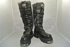 NEW ROCK REACTOR TALL BLACK BOOTS 6 STRAPS ANATOMICAL SOLE ZIP 9.5 UK