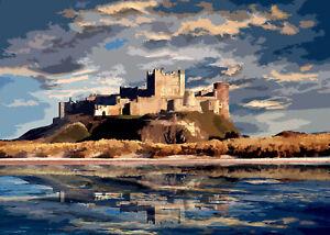 Bamburgh Castle Sunset Northumberland Art Print By Sarah Jane Holt Large Version