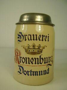 Antiker Bierkrug Brauerei Kronenburg Dortmund um 1900