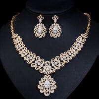 CWWZircons Cubic Zirconia Big Dubai Gold Necklace Earrings Wedding Jewelry Sets