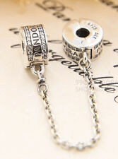 Genuine Pandora Insignia Safety Chain with Clear 792057CZ Charm Bead