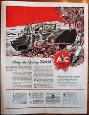 Firing Fighting Duck AC Spark Plug   WWII Ad