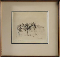 Etching of Saddled Horses by William Robinson Leigh (United States 1866 - 1955)