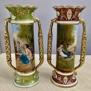 2 Royal Vienna Porcelain Red & Green Gold Designs Artist Sign Hand Painted Vases