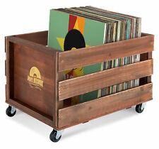 Braune Aufbewahrungsbox aus Holz im Retro-Design für bis zu 100 Schallplatten