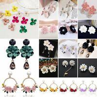 Elegant Women Flower Round Tassel Earrings Dangle Statement Ear Stud Jewelry New