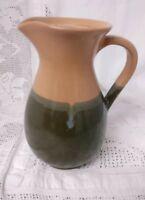 """Studio pottery Jug 8.25"""" Tall Two-tone Brown Glazed Milk Jug"""