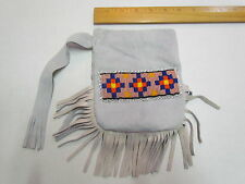 NATIVE AMERICAN BEADED GREY POUCH WITH TASSELS - 5 1/2 IN X 6 1/2 IN