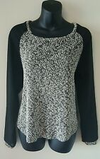 Womens Sparkle & Fade top medium black gray knit sheer long sleeves