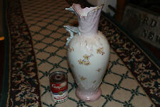 Antique Ceramic Pottery Pitcher Vase-Pink Color-Painted Flowers-Unusual Look