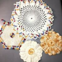 Vintage Lot of 4 Gold & Primary Color Crocheted Doilies 3 Hanging Flowers Granny