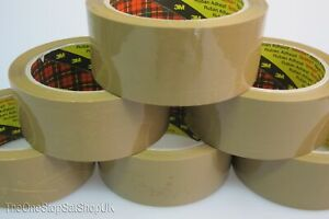 6 Rolls of Packing Packaging Tape 3M Scotch Strong Brown Buff 66m x 48mm