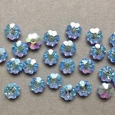 12 x Swarovski Crystal Flower/Marguerites Beads -   Lt Sapphire Blue A/B