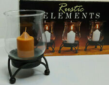 """Rustic Elements Set Of Three  6"""" (Glass Candleholders) With Candles"""