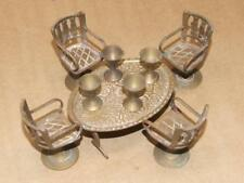 VINTAGE Doll House Miniature Brass Table & 4 Chairs & Goblets from India