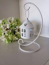 Lanterna bianca porta candela su stand metallo h20 cm bomboniera matrimonio