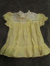 Vintage Baby Girl Dress Yellow White Polka Dots