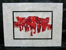 15 x 18 Inches Carnelian Stone Elephant Art Inlay Table Top Marble Wall Panel