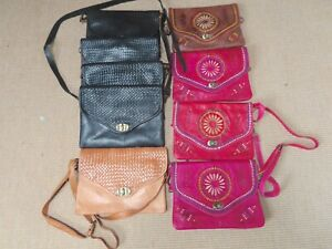 Moroccan leather clutch  bags, Job Lot of 9