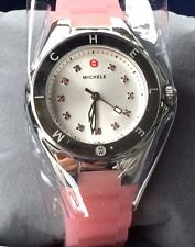 NWT MICHELE Pink & Silver Tahitian Jelly Bean Topaz Swiss Watch MWW12P000008