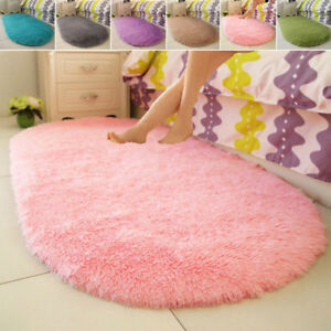 Fluffy Rugs Anti-Skid Shaggy Area Rug Dining Room Carpet Floor Mat Home Bedroom