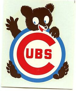 CHICAGO CUBS  DECAL - STICKER CUBBIE BEAR  ORIGINAL RARE VINTAGE 1970'S MINT