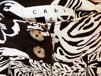 CABi WOMENS COTTON STRETCH CROP ANKLE PANTS FLORAL PRINT BROWN WHITE SIZE 2 XS