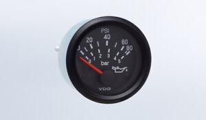 "VDO gauge Oil pressure 80 psi genuine Cockpit 350-934, bracket 2""/52mm w/harness"