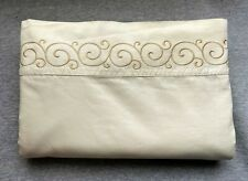 Kohls Luxury Collection KING Flat Sheet Ivory Cotton Sateen Gold Embroidered Hem