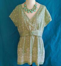 VTG Gitano Womens Size 16 Pistachio Green Henna Print Cap Sleeve Empire Boho Top