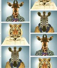 Tiger Zebra Giraffe Pictures. Muriva Animal Photobooth Multi Wallpaper 601540