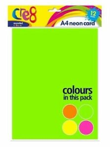 12 SHEETS OF A4 MIXED NEON COLOUR CARD PINK YELLOW GREEN ORANGE 200gsm ART CRAFT