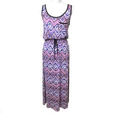 Bobeau Nordstrom Maxi Dress Small Women's Purple Ikat Stretch Knit Beachy